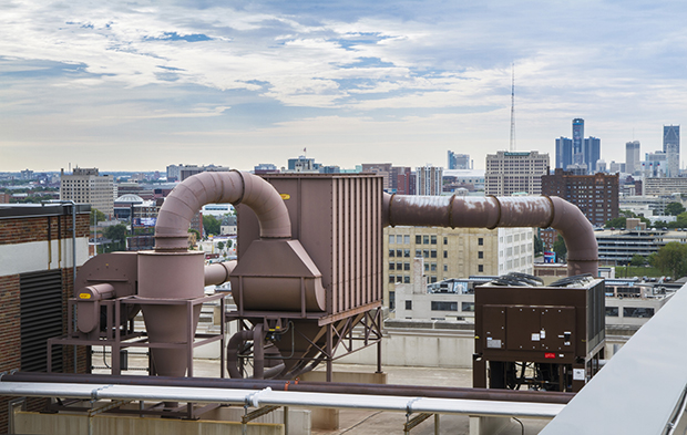 Woodshop dust collection system installed on the roof of the College for Creative Studies in Detroit, MI